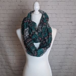 Green Infinity Scarf with Flamingo Detail